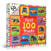 英文原版进口绘本 First 100 Trucks 少儿启蒙低幼童书纸板书 0-1-3岁宝宝学习英语入门启蒙 正版图画
