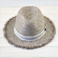 夏季新款标灰色拉菲草流苏草帽出游防晒时尚度假礼帽女士凉帽