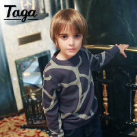 taga童装 儿童毛衣男童套头毛线衣春秋款针织圆领毛衣