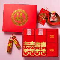 新款喜庆结婚用品红内裤双喜情侣内裤纯棉套装男女士红袜子礼盒装