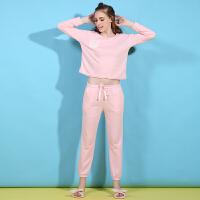 春秋季新款睡衣女人长袖舒适宽松粉色条纹气质时尚可爱家居服套装 粉红色