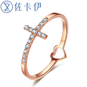 佐卡伊玫瑰18k金钻石戒指时尚个性钻戒女戒送女友戒指 珠宝