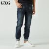 GXG牛仔裤男装 秋季男士时尚潮流青年休闲都市修身深蓝色男牛仔裤