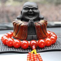 创意炭雕车载汽车摆件小车上弥勒佛像车内装饰用品摆件礼品 +红玛瑙佛珠