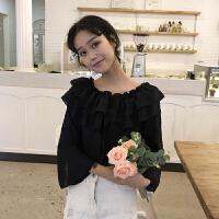 夏季新款女装韩版甜美木耳边一字领露肩喇叭长袖雪纺衬衫学生上衣