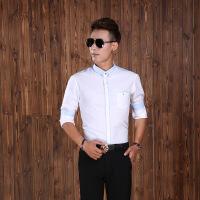 透气长袖衬衫商务男士衬衫修身长袖衬衣翻领衬衫男装衬衫 如图