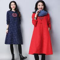 棉麻连衣裙秋冬新款民族风女装中长款长袖宽松中国风复古裙子