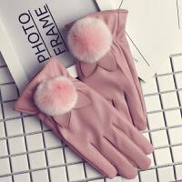 皮手套女冬学生韩版可爱卡通薄款獭兔毛触屏加绒加厚保暖防寒手套