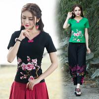 民族风女装上衣 夏季新款 中国风V领上衣盘扣刺绣花短袖T恤女