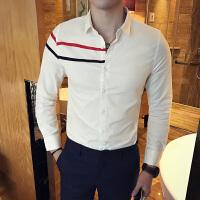 05290028311春季新款条纹时尚发型师夜店英伦韩版修身潮型男衬衣长袖衬衫