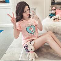 睡衣女夏季韩版清新学生爱心可爱夏天短袖纯棉家居服两件套装宽松 WL KT猫5643-粉色