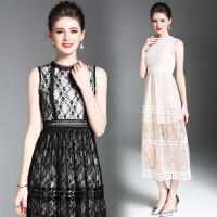 年夏季新款欧美女装显瘦纯色蕾丝镂空无袖中长款连衣裙礼服裙
