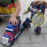 变形玩具金刚4威将op擎天汽车人机器人柱子模型男孩儿童玩具