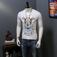 男短袖T恤夏季新品半袖男式 时尚烫钻小鸟印花V领黑色上衣潮流 4X