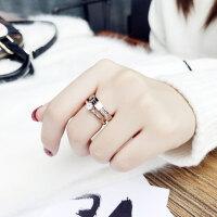 食指钛钢戒指女不掉色日韩玫瑰金潮人网红学生个性大气时尚指环女 美号6号 戒圈5.0-5.2厘米