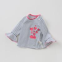 戴维贝拉秋季新款女童印花T恤宝宝条纹打底上衣DBA9361