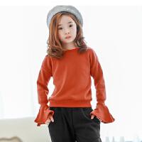 秋冬新款女童T恤长袖韩版童装中大童加绒加厚喇叭袖上衣