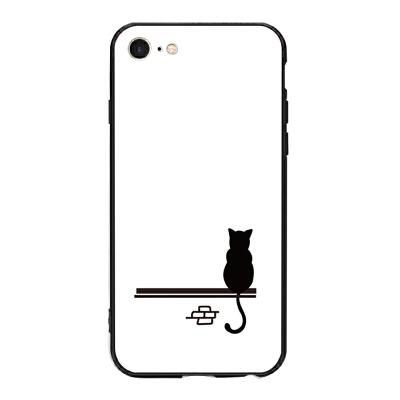 硬壳背影猫 苹果x手机壳iphone7plus/8/6s/5se少女冷淡风情侣外壳