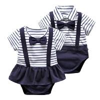 兄妹装婴儿连体衣女宝宝假两件包屁衣服新生儿外出服绅士风哈衣男