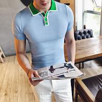 夏季修身短袖T恤 英伦绅士休闲青年潮流撞色领子翻领男士POLO衫