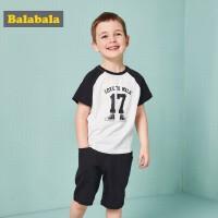 巴拉巴拉童装男童小童宝宝两件套装夏装2018新款短袖T恤裤子纯棉