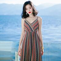 夏季新品女装无袖条纹露背吊带雪纺长裙连衣裙海边度假沙滩裙 图片色XZA591