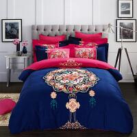全棉加厚磨毛四件套秋冬季纯棉被套床上用品保暖床品1.5 1.8 2m床 藏青色 相思令