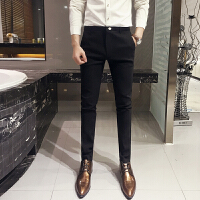 英伦商务男士西装裤韩版修身小脚裤铅笔显瘦黑色长裤青年小西裤潮