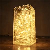 创意LED小夜灯床头灯北欧个性冰裂玻璃台灯温馨卧室装饰氛围盐灯