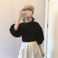 泡泡袖上衣甜美二次少女俏皮大袖子百搭潮BF韩国学生秋天打底衫