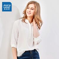 [5折到手价:87.9元,狂欢返场/仅限12.13-16]真维斯女装 2019秋装 宽松雪纺布短袖衬衫