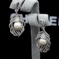 韩国气质小香珍珠耳钉银长款锆石小香风耳环耳坠 图片色