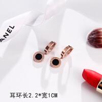 韩国气质简约钛钢耳钉女个性时尚玫瑰金四叶草耳环百搭耳饰