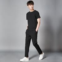 冰丝休闲套装男夏季2020新款韩版潮流青少年运动服时尚夏装两件套