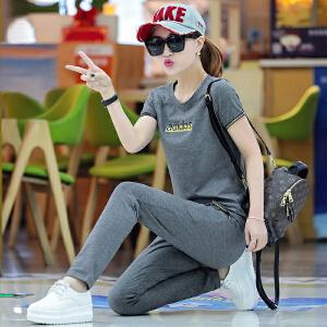 安妮纯夏季运动服套装女2019新款潮韩版夏装宽松短袖长裤夏天休闲两件套