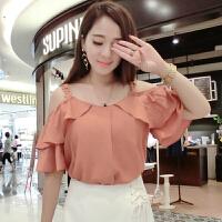 雪纺衫短袖女2018新款夏季韩版甜美宽松显瘦荷叶边吊带露肩上衣潮