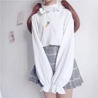 慈姑秋装新款女装日系甜美可爱卡通刺绣打底衫加绒加厚高领毛衣针织衫 均码