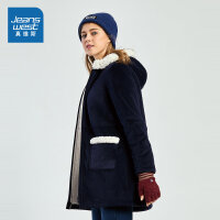 [满99减10元/满199减30元]真维斯女装 冬装 珊瑚绒连帽开胸棉衣外套