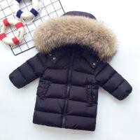 冬季男童女童加厚宝宝中长款大毛领儿童羽绒服婴幼儿童装