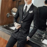 春装新品男士韩版修身提花西服套装潮流青年纯色免烫三件套装