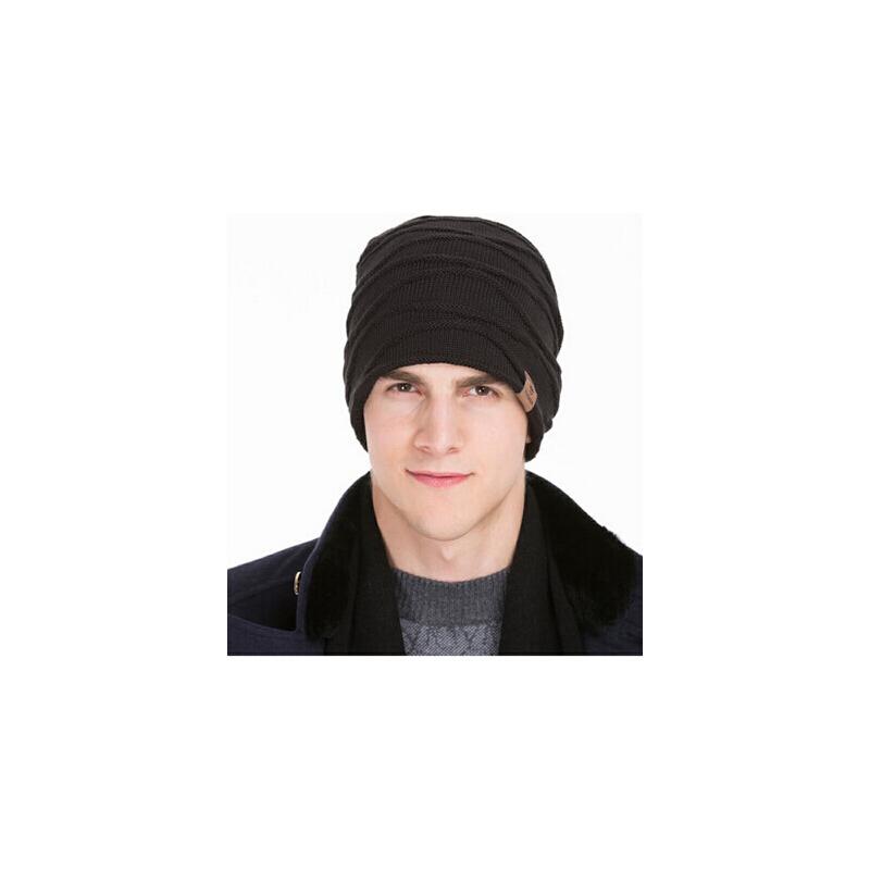 冬天户外运动男帽针织帽毛线帽男士帽子秋冬季韩版包头帽套头帽