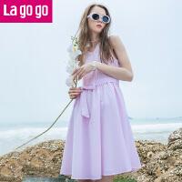 【满200减100】Lagogo2017年夏季新款束腰显瘦裙子 中长款V领无袖纯色女连衣裙GALL235A38