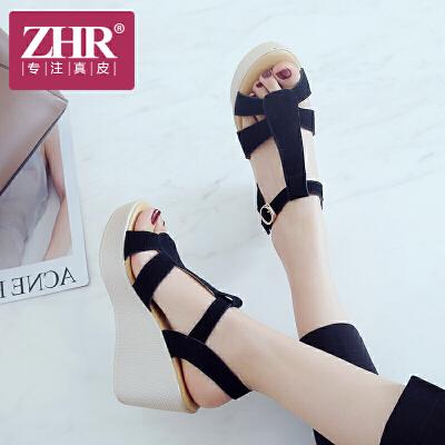 ZHR2018夏季新款真皮罗马鞋松糕凉鞋坡跟女鞋学生鞋子厚底高跟鞋M208