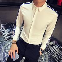 新款加小码秋冬潮男装袖子织带长袖打底衬衫小个子S码修身青年衫