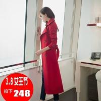 风衣女中长款韩版春季 新款修身长款外套收腰大码女装女士 红色 收藏加购优先发货