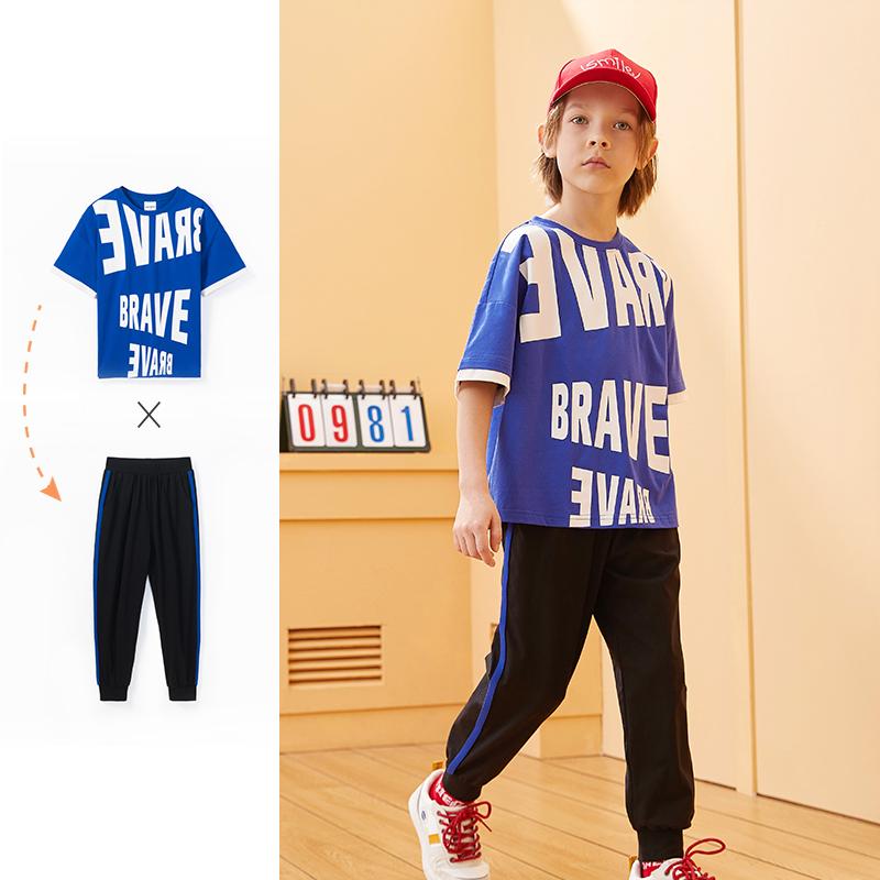 【2件3折:99】巴拉巴拉旗下男童套装儿童t恤2020夏装新款洋气印花童装中大童潮