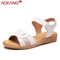 奥康女鞋夏季凉鞋透气舒适软底坡跟中年防滑妈妈凉鞋女
