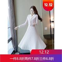 小众针织连衣裙女秋冬毛衣配裙子法式气质复古桔梗裙 粉色