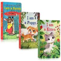 英文原版绘本I AM A Bunny/KITTEN/PUPPY我是一只小猫小狗兔子3册合售幼儿英语启蒙纸板撕不烂经典童