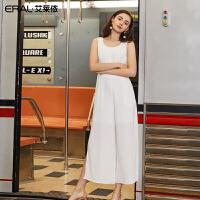 艾莱依连体裤女2019夏季新款时尚修身显瘦无袖直筒长裤601832008